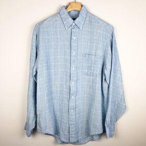Brooks Brothers 346 Blue Plaid Linen Shirt Medium
